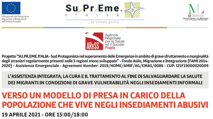 La cura dei migranti negli insediamenti informali, il 19 aprile il webinar per il personale dei servizi sanitari e socio-sanitari.